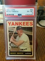 1964 Topps Mickey Mantle #50 PSA 6 EXMT BEAUTIFUL VINTAGE CARD NEW LABEL INVEST!