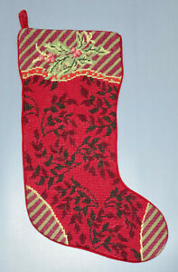 Wool Embroidered Christmas Stocking #2