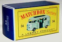 Matchbox Lesney No 34 VOLKSWAGEN CARAVETTE empty Repro  style D Box