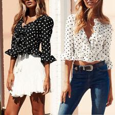 popular verano mujer Lunares Fruncido Corte Bajo cuello en V blusa top Chiffon