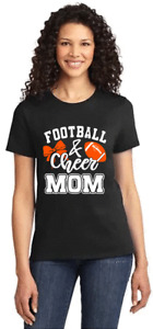 WOMENS BLACK T-SHIRT with  FOOTBALL AND CHEER MOM PRINT size LARGE