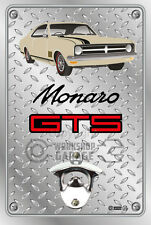 Wall Mount Bottle Opener Metal Sign - HOLDEN HK GTS Coupe Pinaroo Beige