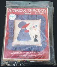 Nos Vtg Appliqué Embroidery Pillow Kit Hazel Calico Girl with cat