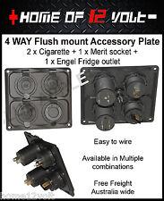 4way 12V Accessory Plate Flush mount 2 x Cigarette + 1 x Merit +  ENGEL socket