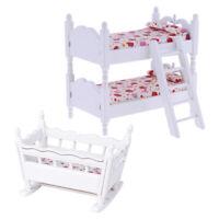 1/12 Dollhouse Miniature Children Bunk Bed Baby Cradle Set Bedroom Accessory