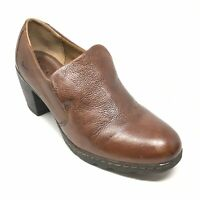 Women's Born Concept Clogs Booties Shoes Size 9M Brown Leather Slip On AE6