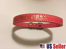 NEW PINK LEATHER PRINCESS DOG PUPPY COLLAR FITS NECKS FANCY
