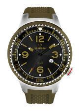 POSEIDON Herren-Armbanduhr XL Pro Analog Silikon UP00383 Olivgrün UVP 119,- €