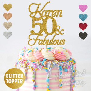 Personalised Custom Glitter Cake Topper 50 and Fabulous, 50th Fifty Birthday