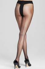 Alice + Olivia By Pretty Polly Womens Black Back Seam Tights One Size 8817