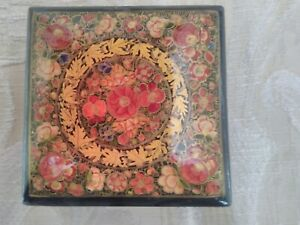 Vintage Lacquered Papier Mache Hand Painted Trinket Box With Flowers & Rich Gold