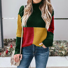 Women's Winter High Neck Patchwork Sweater Ladies Pullover Knitted Jumper Tops
