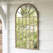 36 x 60cm Rustic Metal Arch Window Mirror