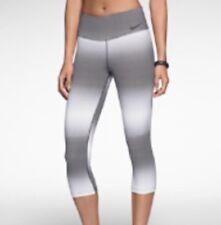 Nike Legend Horizon Capri Medium M Teal Gray White Stripe Ombre Crop Pants