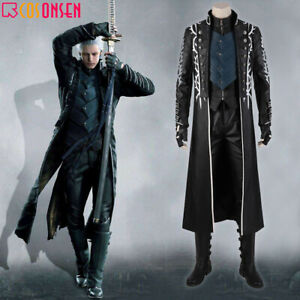 Cosonsen Game Devil May Cry 5 Vergil Cosplay Costume Dark slayer Outfit lot