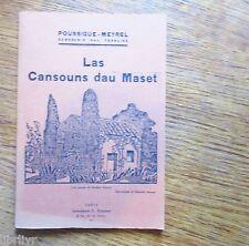 LAS CANSOUNS DAU MASET livre en occitan, 1932 Chansons montpelièraines musiques