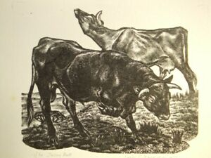 Leslie C. Benenson pencil signed limited ed wood engraving 'Jersey Bull' 1971