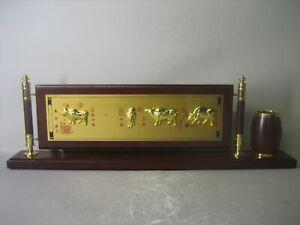 RARE Oriental hand crafted decorative pen container / desk ornament & box. NEW