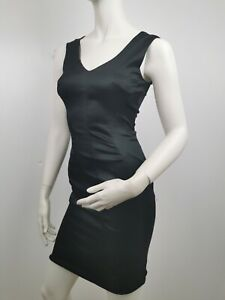 Authentic D&G Dolce And Gabbana Black Satin Dress Sz XS