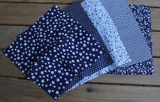 5x Stoff für Masken Nasen- Mundbedeckung blau 25 x 25 cm Sterne Punkte Blumen BW