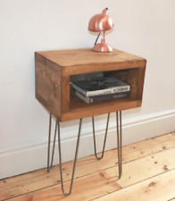 Rustic Bedside Table Handmade In Reclaimed Wood With Industrial Hairpin Legs - S