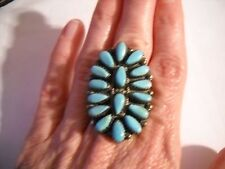 ~Awesome! Huge! Signed P Jones Navajo Sterling Turquoise Cluster Ring Size 6.5~
