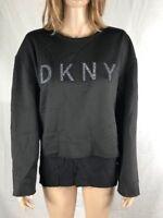 Women's NWT DKNY Mixed-Media Rhinestone Logo-Graphic Crew-Neck Top Black