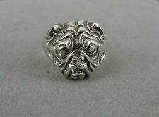 Bulldog Dog Mean Face Sterling Silver 925 Band Ring Size 12 1/4