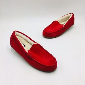 Lands' End Women's Suede Moccasin Slippers - Rich Red