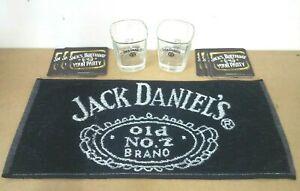 jack daniels pub home drip golf bar towel beer mat 2 glasses man cave gift set *