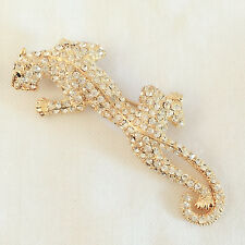 New Gold Plated Leopard Panthera African Wildlife Crystal Brooch Pin BR1055