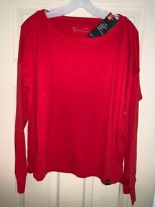 NWT Under Armour Drop Shoulder Women's Large Long Sleeve Simply Red T-shirt