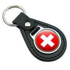 Flag of Switzerland Black Leather Metal Keychain Key Ring