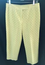 David Meister Lime Green Floral Lace Pattern Cotton Blend Ankle Pants - Size 8