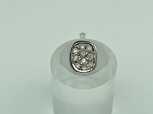 Gorgeous Vintage Spanish 800 Solid Silver Diamond PASTE Signet Ring SMALL Size I