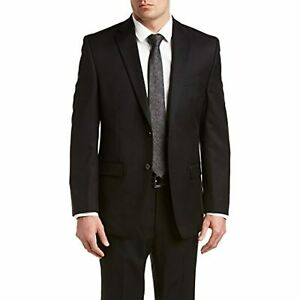 $369 Calvin Klein Mitchell Wool Slim Fit Two-Button Suit Black Size 38x32 REG