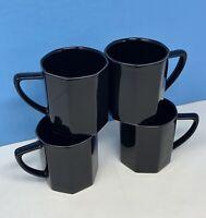 Set 4 Jack Lenor Larsen Mikasa Obsidian Black Terra Nova Coffee Mug Cup Vintage