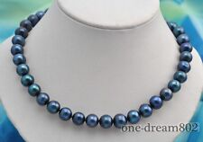 "17""11mm round black fresh water pearl necklace"