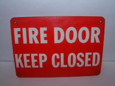 Vintage Fire Door Keep Closed Heavy Plastic Sign with Brass Grommets Nice Retro
