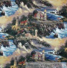BonEful Fabric FQ Cotton Quilt VTG Thomas Kinkade Country Scenic Light*house Sea
