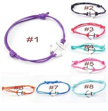Antique Silver Anchor Colored Cotton Waxed Cord Friendship Love Wish Bracelet UK