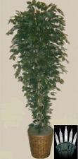 Artificial 7' Ficus Tree Plant Bush Basket Topiary Patio Palm Christmas Lights