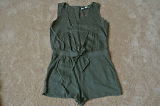 Anthropologie Waist Cinching Romper M NWOT$99 Army Green! By Saturday Sunday!