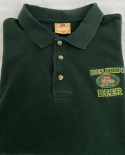 VINTAGE Belikin Beer Belize Polo Shirt HTF MEDIUM Green Embroidered Cotton Logo