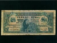 Ethiopia:P-9,50 Thalers,1932 * Lion * First Issue ! * RARE * F+ *