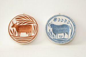 reproduction butter molds, set of 2 - sheep and cow