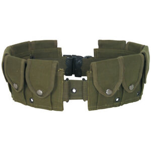 10 Pocket M1 Garand Utility Cartridge Ammo Pouch Canvas Adj Batman Belt - OD GRN