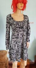 Ladies Apricot Mini Dress Tunic Black White Stretch Paisley Print Long Sleeve 10