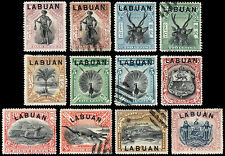 Labuan Scott 72, 72A, 73-80, 81a, 82 (1897-1900) M/Cancelled H Vf, Cv $170.80 B