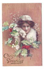 Vintage Tucks Oilette postcard Christmas Greetings' beautiful lady in fur stole